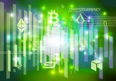 Предпосылка конспекта cryptocurrency вектора в зеленом цвете бесплатная иллюстрация