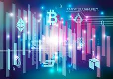 Предпосылка конспекта cryptocurrency вектора в фиолетовом цвете иллюстрация штока