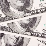 Предпосылка конца денег вверх долларовой банкноты Стоковая Фотография