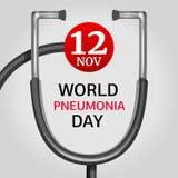 Предпосылка концепции дня пневмонии в ноябре, стиль мультфильма иллюстрация вектора