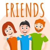 Предпосылка концепции друзей, стиль мультфильма иллюстрация вектора