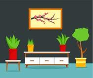 Предпосылка концепции живущей комнаты Японии, плоский стиль иллюстрация штока