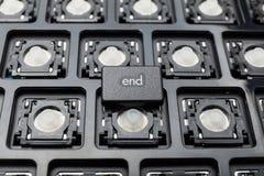 Предпосылка концепции компьютера, кнопка конца стоковые фото