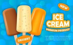 Предпосылка концепции мороженого Popsicle, реалистический стиль иллюстрация штока