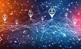 Предпосылка концепции сети дела, социальные сети и концепция взаимодействия стоковое изображение rf
