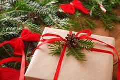 Предпосылка коробки подарка на рождество, крупный план Стоковая Фотография RF