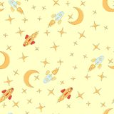 Предпосылка космоса Картина элементов космоса безшовная Иллюстрация Doodle космоса также вектор иллюстрации притяжки corel малыши иллюстрация штока