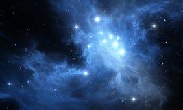 Предпосылка космоса Накаляя межзвёздное облако с звездами Стоковые Фото