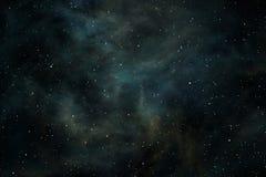 Предпосылка космоса с межзвёздным облаком и звездами Стоковые Изображения