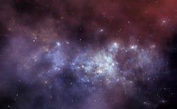 Предпосылка космоса с межзвёздным облаком и звездами Стоковая Фотография