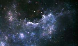 Предпосылка космоса с межзвёздным облаком и звездами Стоковое Изображение
