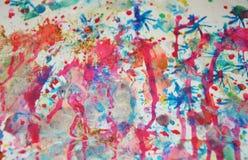 Предпосылка краски акварели в фиолетовых голубых оранжевых цветах Стоковая Фотография RF