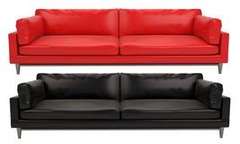 Предпосылка красного и черного кожаного дивана белая и черная стоковое фото
