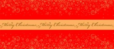 Предпосылка Кристмас красная с снежинками Стоковые Изображения RF