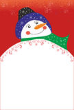 Предпосылка Кристмас с снеговиком Стоковые Фотографии RF