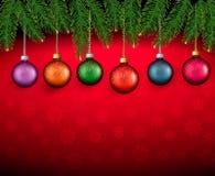 Предпосылка Кристмас с шариками цвета Стоковые Изображения RF