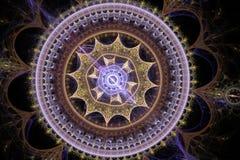 Предпосылка круга графического абстрактного орнамента фрактали красочная Дизайн искусства цифров машинной графики бесплатная иллюстрация