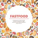 Предпосылка круга фаст-фуда Иллюстрации пиццы и сэндвича мороженого холодных напитков еды бургера покрашенные вектором плоские иллюстрация вектора