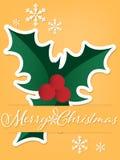Предпосылка курортного сезона рождества бумажный высекать искусства ягод падуба под текстом веселого рождества в белизне на желто иллюстрация вектора