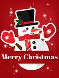 Предпосылка курортного сезона рождества с бумажный высекать искусства снеговика под текстом веселого рождества бесплатная иллюстрация