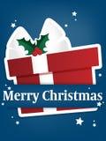 Предпосылка курортного сезона рождества с бумажный высекать искусства подарочной коробки под текстом веселого рождества иллюстрация штока