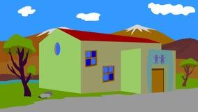 Предпосылка к школе анимации в деревне стоковая фотография