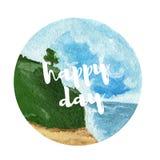 Предпосылка ландшафта акварели День красивого пляжа счастливый Стоковые Фотографии RF