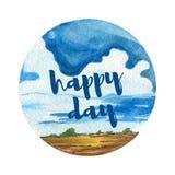 Предпосылка ландшафта акварели День красивых пасмурных ландшафтов счастливый Стоковое Фото