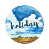 Предпосылка ландшафта акварели Красивые пасмурные праздники ландшафтов Стоковые Фото