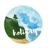 Предпосылка ландшафта акварели Красивый праздник пляжа Стоковые Фото
