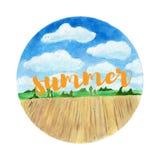 Предпосылка ландшафта акварели лето дня солнечное Стоковое Изображение
