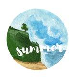 Предпосылка ландшафта акварели лето пляжа красивейшее Стоковые Фотографии RF