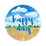 Предпосылка ландшафта акварели Счастливый день, летний день Стоковые Фотографии RF