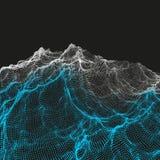 Предпосылка ландшафта местность Решетка виртуального пространства вектор иллюстрации 3d Стоковые Фото