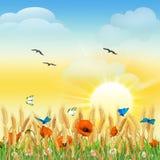 Предпосылка ландшафта с цветками и бабочками Стоковое Изображение RF
