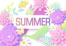 Предпосылка лета с красочными тропическими листьями, цветками и бабочками План дизайна для приглашения, поздравительной открытки иллюстрация штока