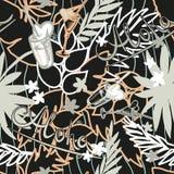 Предпосылка лета тропическая безшовная с экзотическими листьями, заводами, коктеилями, сердцами и надписью ладони - Aloha вектор Стоковые Изображения RF