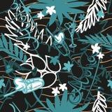 Предпосылка лета тропическая безшовная с экзотическими листьями, заводами, коктеилями, сердцами и надписью ладони - Aloha вектор Стоковая Фотография