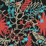 Предпосылка лета тропическая безшовная с экзотическими листьями, заводами, коктеилями, сердцами и надписью ладони - Aloha вектор Стоковое Изображение
