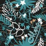 Предпосылка лета тропическая безшовная с экзотическими листьями, заводами, коктеилями, сердцами и надписью ладони - Aloha вектор Стоковые Фото