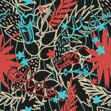 Предпосылка лета тропическая безшовная с экзотическими листьями, заводами, коктеилями, сердцами и надписью ладони - Aloha вектор Стоковые Изображения