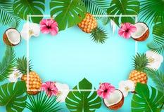 Предпосылка лета тропическая с экзотическими листьями ладони Стоковое Изображение