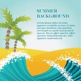 Предпосылка летнего отпуска с волнами Стоковое Фото