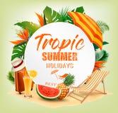 Предпосылка летнего отпуска с тропическими заводами Стоковое Изображение