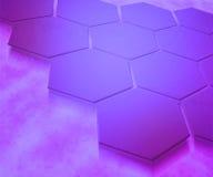 Предпосылка лиловых шестиугольников абстрактная Стоковые Фото