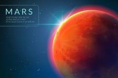 Предпосылка Марса Красная планета с текстурой в космическом пространстве Восходящее солнце и повреждает концепцию вектора 3d ланд иллюстрация штока
