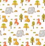 Предпосылка милых животных безшовная со слоном, тигром и лисой иллюстрация штока