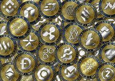Предпосылка монетки Cryptocurrency Стоковые Фотографии RF