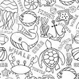 Предпосылка морской фауны моря безшовная иллюстрация вектора