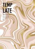 Предпосылка мраморного абстрактного золота пинка белая Текстура вектора жидкой краски Шаблон для свадьбы, приглашений иллюстрация штока